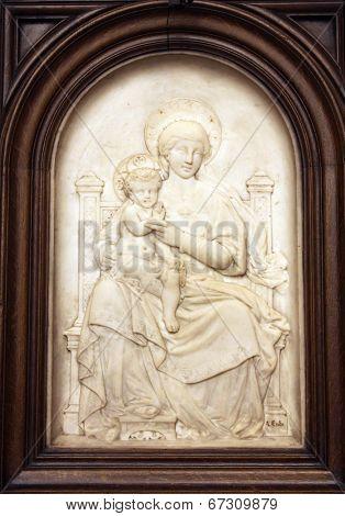 PARIS,NOV 06:Madonna with Child,Saint-Etienne-du-Mont church,located on the Montagne Sainte-Genevieve,near the Pantheon.It contains the shrine of St. Genevieve patron saint of Paris.On Nov 06 in Paris