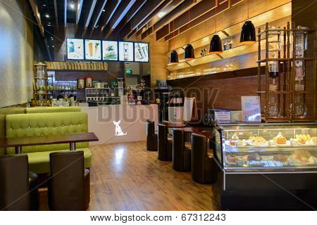 SHENZHEN, CHINA-APRIL 13: cafe interior on April 13, 2014 in Shenzhen, China. ShenZhen is regarded as one of the most successful Special Economic Zones.