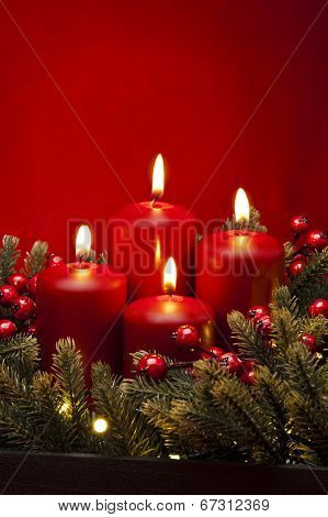 4Th Advent Red Candle Flower Arrangement