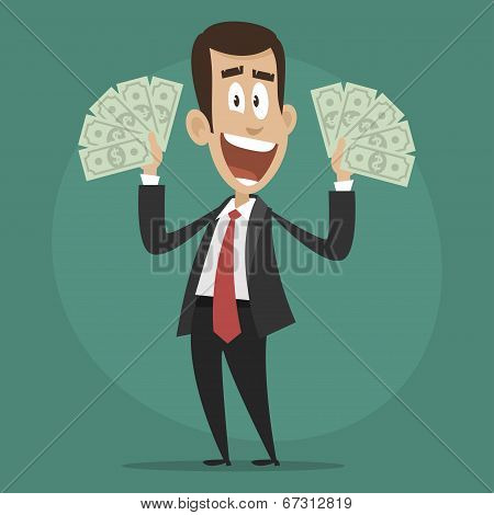 Character businessman happy holds dollar bills