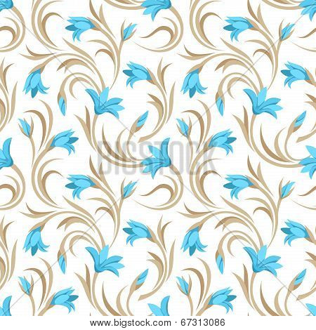 Seamless pattern with blue gladiolus flowers. Vector illustration.