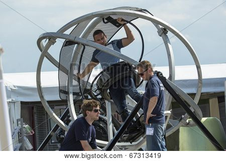 BERLIN, GERMANY - MAY 20, 2014: Unidentified participants staff and visitors during the International Aerospace Exhibition ILA Berlin Air Show-2014.