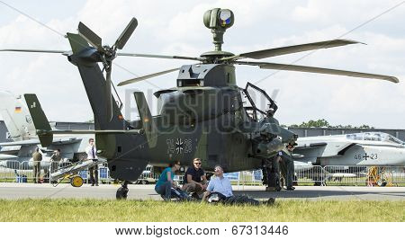 BERLIN, GERMANY - MAY 20, 2014: Unidentified visitors during the International Aerospace Exhibition ILA Berlin Air Show-2014.