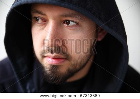 Young Man Wearing Black Hoodie