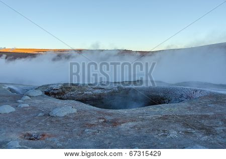Sol de Manana (Morning Sun) geysers at dawn, Sur L�­pez Province, Bolivia