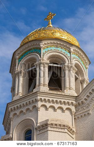 Dome Of Orthodox Naval Cathedral Of St. Nicholas. Built In 1903-1913. Kronshtadt, St.petersburg, Rus