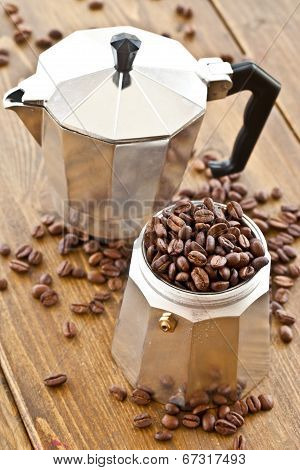 Moka Pot And Coffee Beans