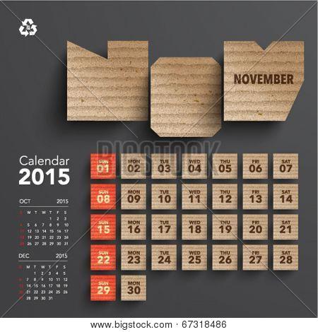 Vector 2015 Cardboard Calendar Design - November