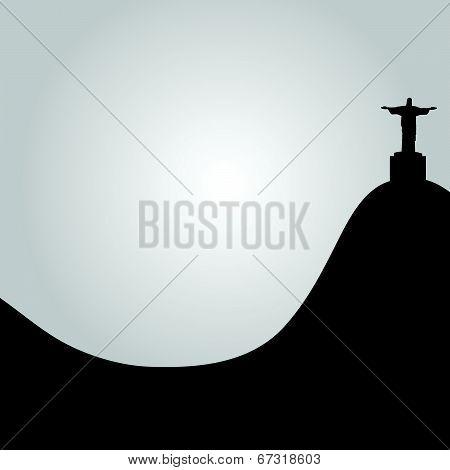 Rio De Janeiro View Of Christ Vector Illustration