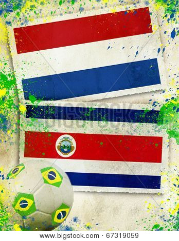 Netherlands vs Costa Rica soccer ball concept