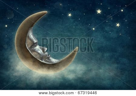 Night time with stars and moon