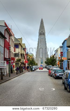 REYKJAVIK, ICELAND - AUGUST 31, 2013: A unique Hallgrimskirkja church in the heart of Reykjavik, Iceland. This is the largest church in Iceland
