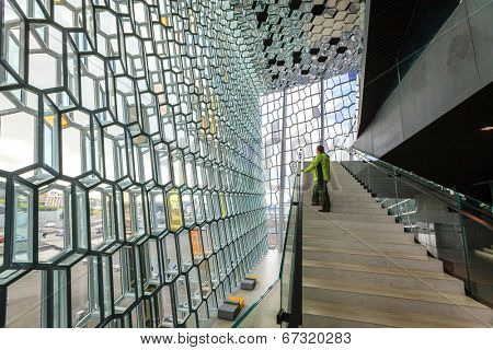 REYKJAVIK, ICELAND - AUGUST 31, 2013: Interior of Harpa concert hall, Reykjavik, Iceland. Harpa was opened on May 13, 2011. It was selected as Best Performance Venue 2011 by Travel & Leisure magazine