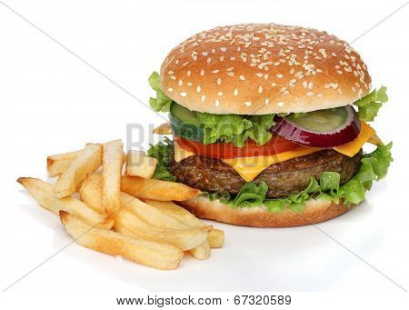 Tasty hamburger and french fries isolated