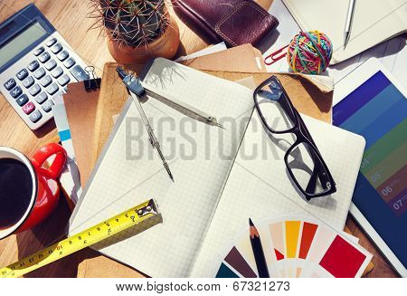 Messy Designer's Table with Tools