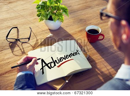 Businessman Brainstorming About Achievement