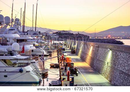 View of the marina at dawn