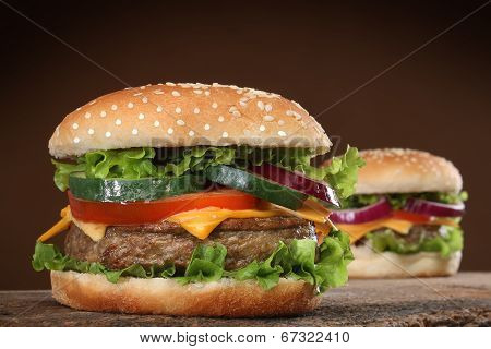 Two delicious hamburgers