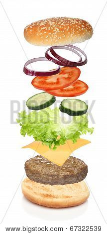 Flying ingredients of hamburger isolated