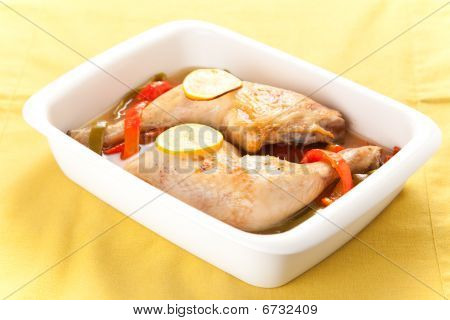 Roast Chicken With Red And Green Peppers