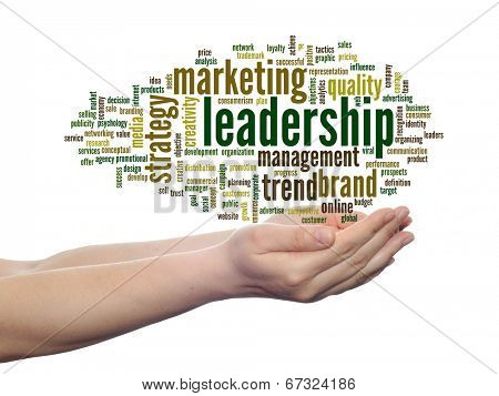 Concept or conceptual abstract business marketing leadership word cloud or wordcloud in man or woman hand on white background