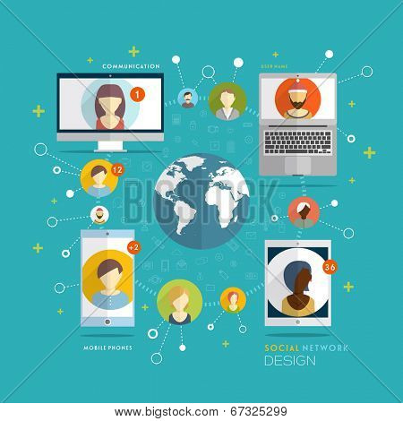 Social Network Vector Concept. Flat Design Illustration for Web Sites Infographic Design. Communication Tools and Technologies. Mobile Web Communication Systems.