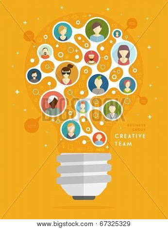 Social Media Icons, Social Network Concept, Creative Team. The Shape of the Light Bulb. Mobile Technologies and Communications. Generator of Ideas. Set of People Icons.