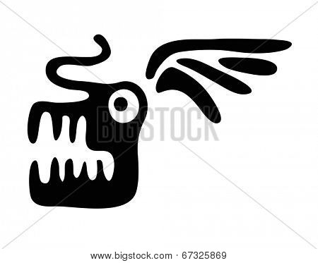 head of dragon in native style, vector illustration