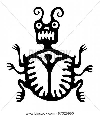 black mite or beetle in native style, vector illustration