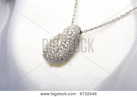 Expensive elegant beautiful jewelry pave diamond necklace white gold pendant in the gift box