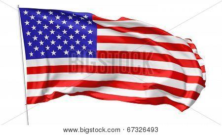 Flag Of United States On Flagpole