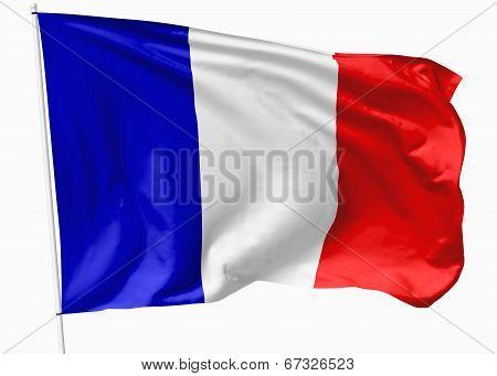 Flag Of France On Flagpole
