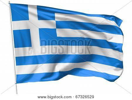 Flag Of Greece On Flagpole