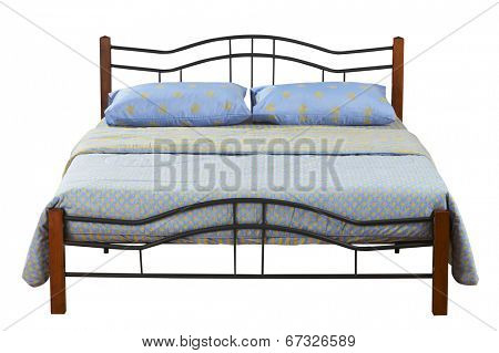 queen size bed with clipping path