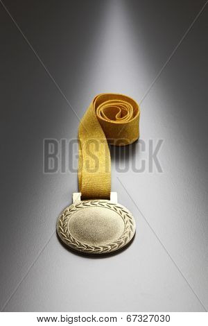 gold color medal on the gray background