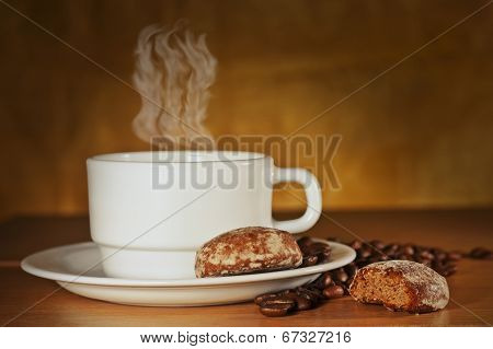 White Cup Of Hot Coffee With Cakes