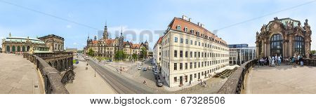 Dresden, Germany - June 11, 2014: Panoramic View From Zwinger On The Historic Heart Of Dresden.