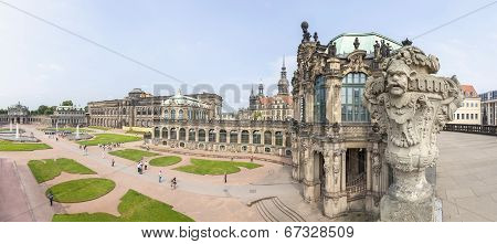 Dresden, Germany - June 11, 2014: Panoramic View Of Zwinger (der Dresdner Zwinger), Part Of The Hist