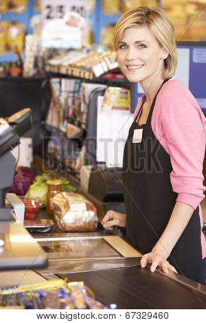 Supermarket checkout worker