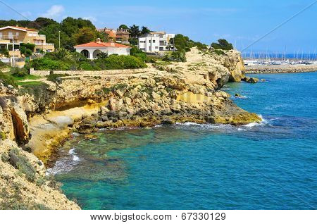 a view of the coastline of Torredembarra, Catalonia, Spain