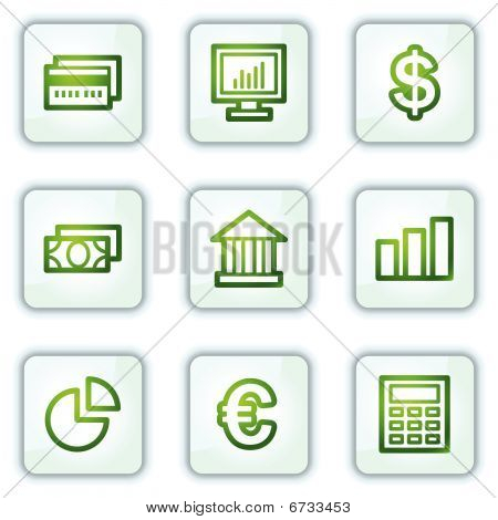 Finance web icons, white square buttons series
