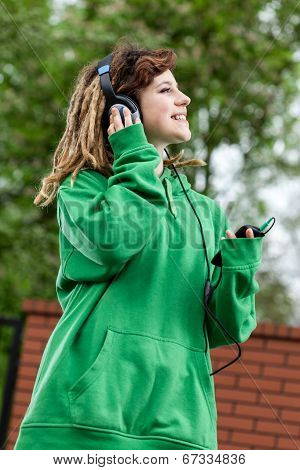 Cool Girl Listening Music