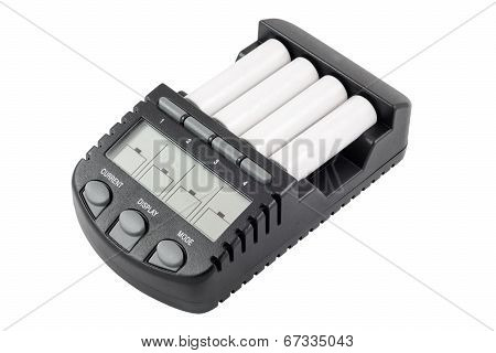 Intelligent accumulator battery charger with AA batteries