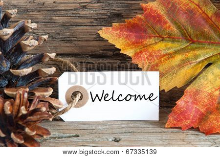Autumn Background With Welcome Label