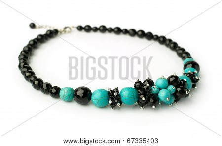 Necklace Of Turquoise And Black Onyx