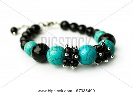 Bracelet Of Turquoise And Black Onyx