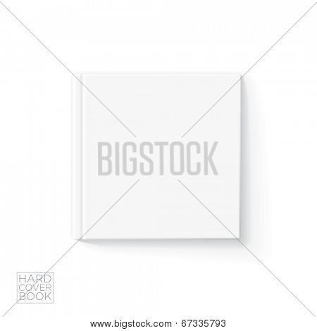 Hard cover book design template. Vector detailed illustration.