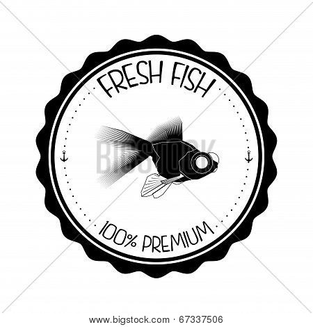 Vector Abstract Styling Fish Label Isolated On Background