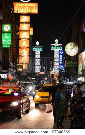 Bangkok - March 21: The China Town At Yaowarat Road. Neon Light At Night, Bangkok, Thailand