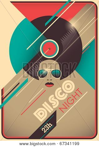 Disco night poster design. Vector illustration.